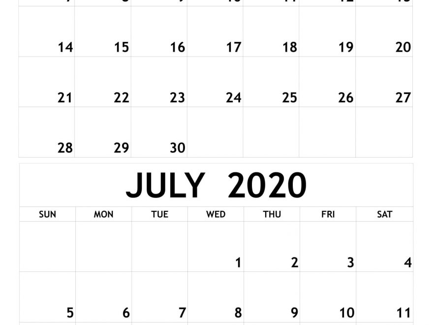 June July 2020 Calendar Printable