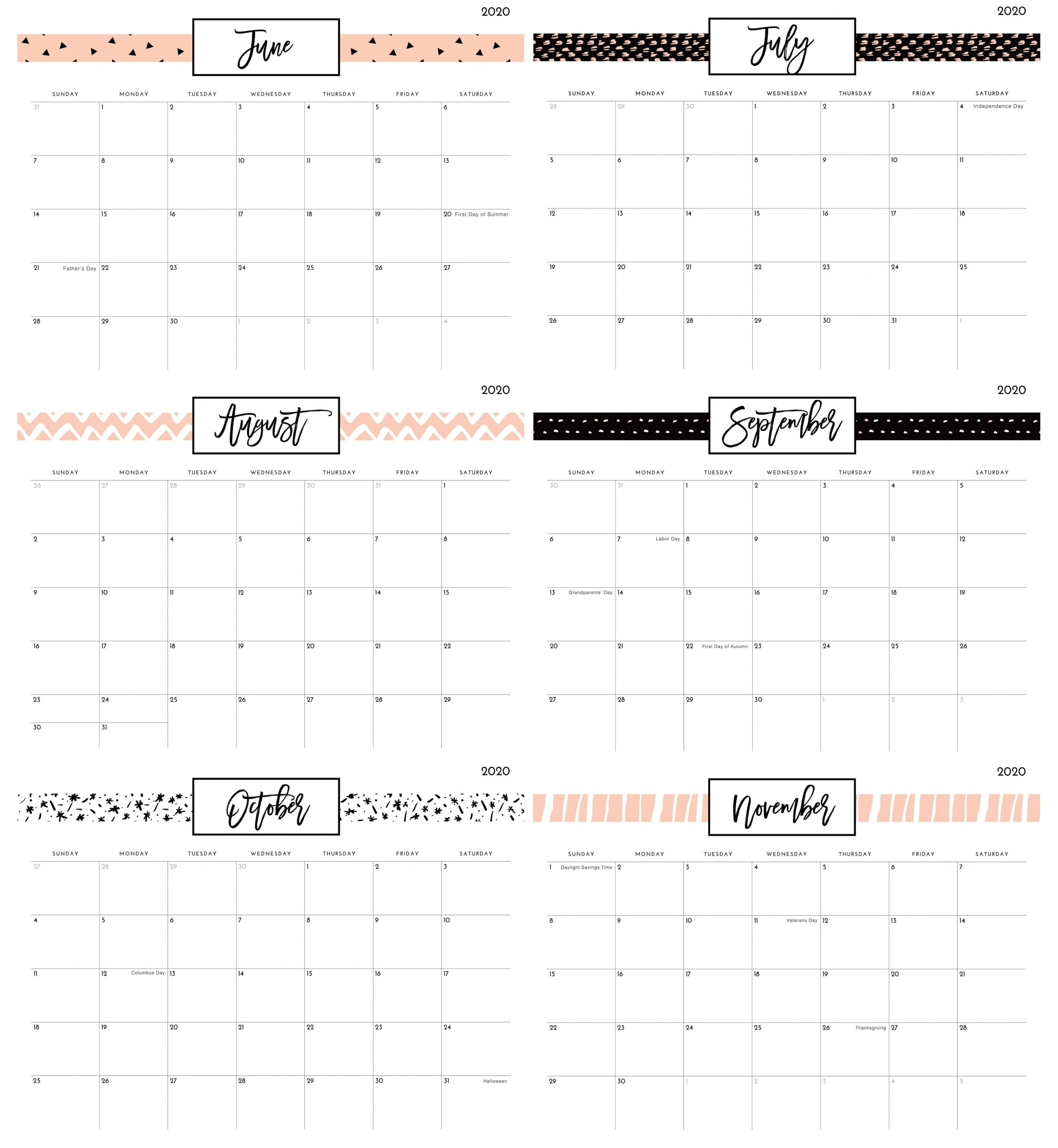 June To November 2020 Calendar with Notes
