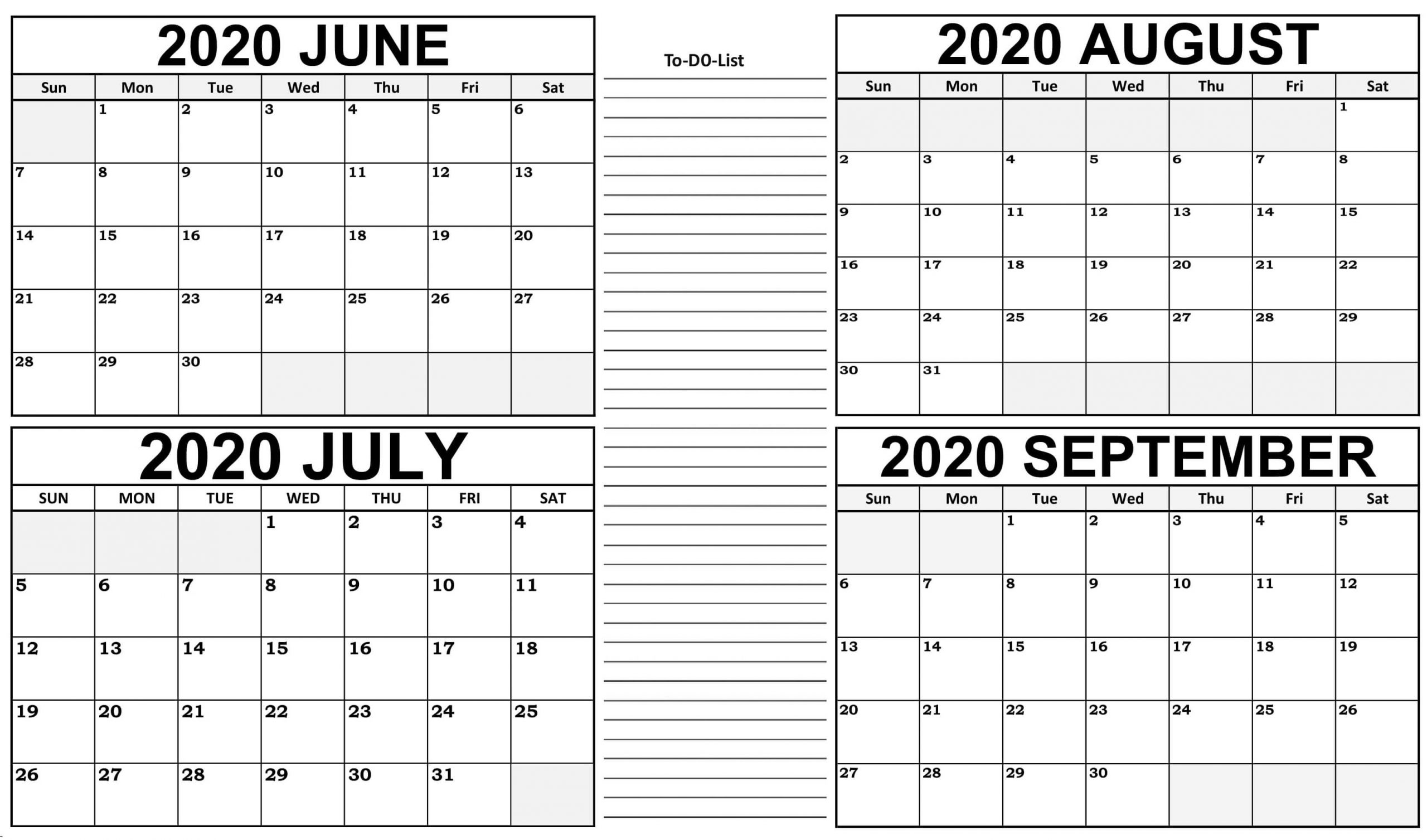June To September Calendar 2020 With Notes