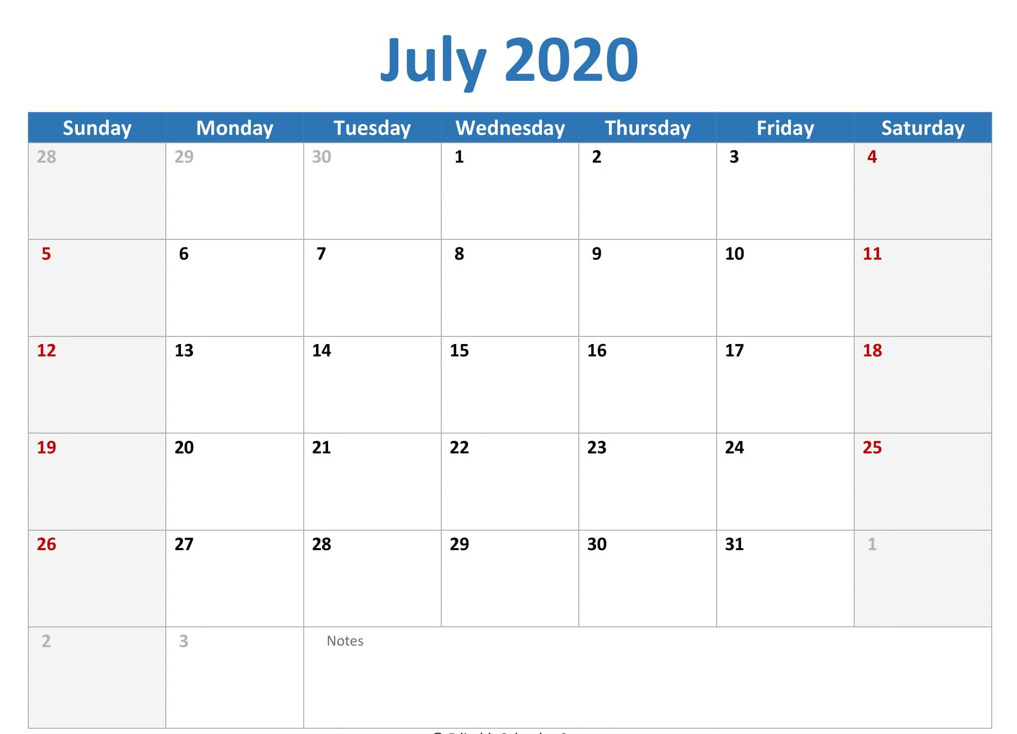 Monthly Calendar 2020 July