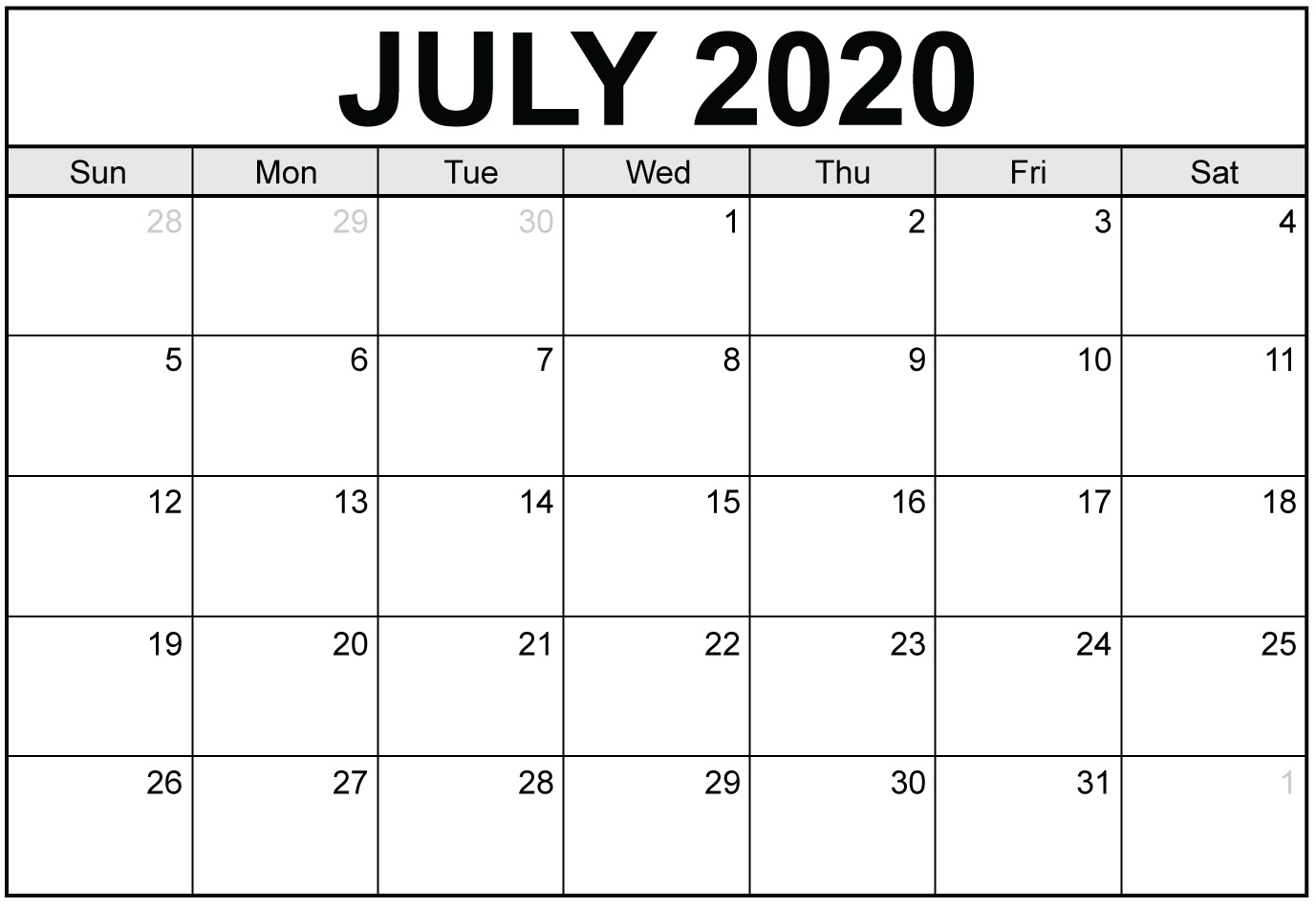 Monthly Free Printable Calendar July 2020
