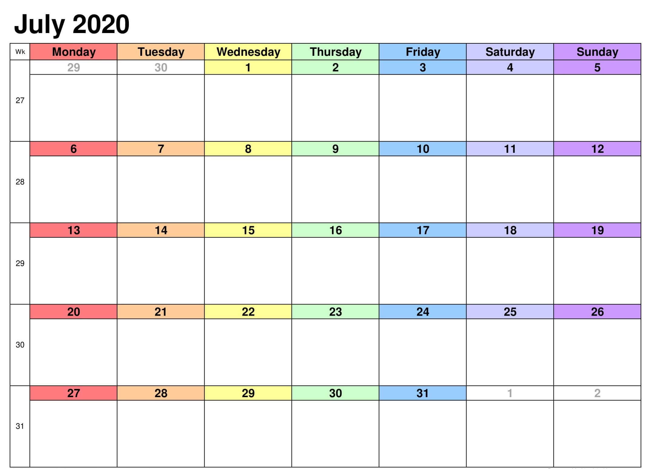 Monthly Calendar Template July 2020