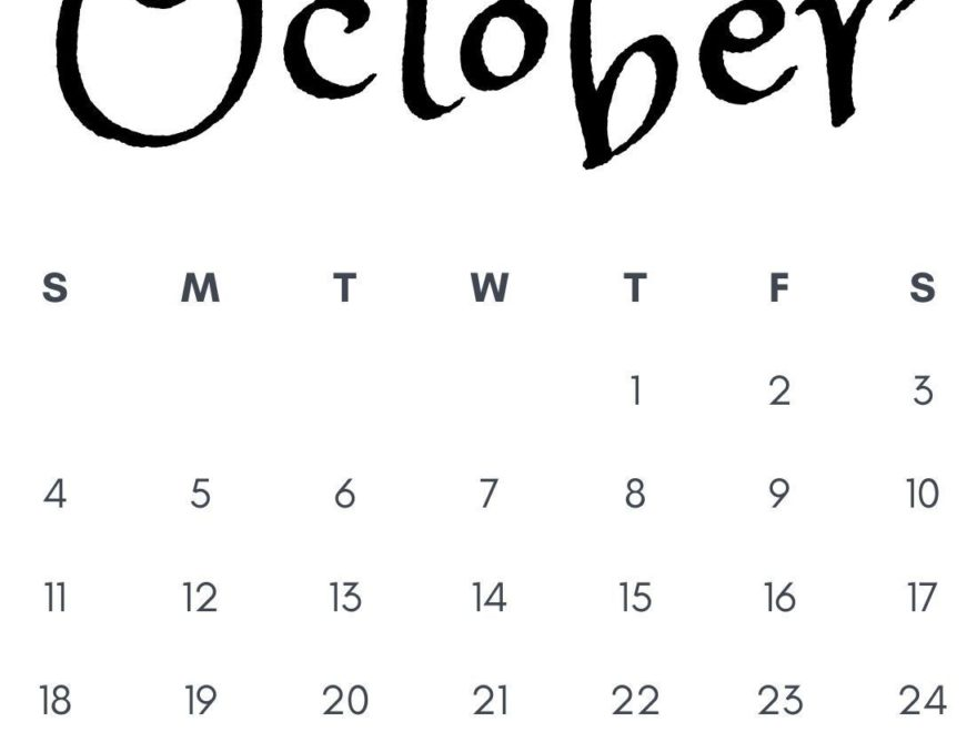 October 2020 Calligraphic Calendar Download