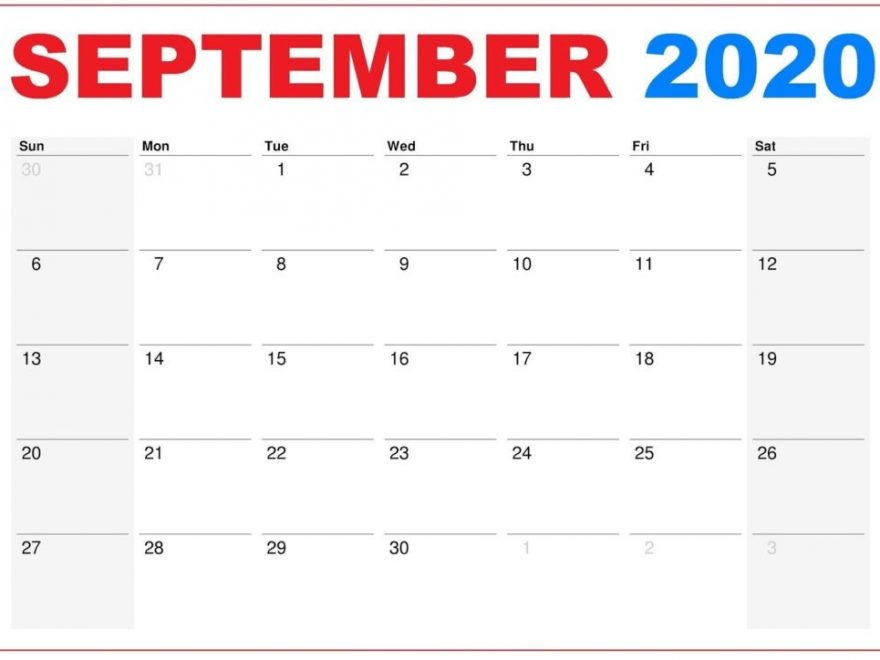 September 2020 Monthly Calendar Blank PDF