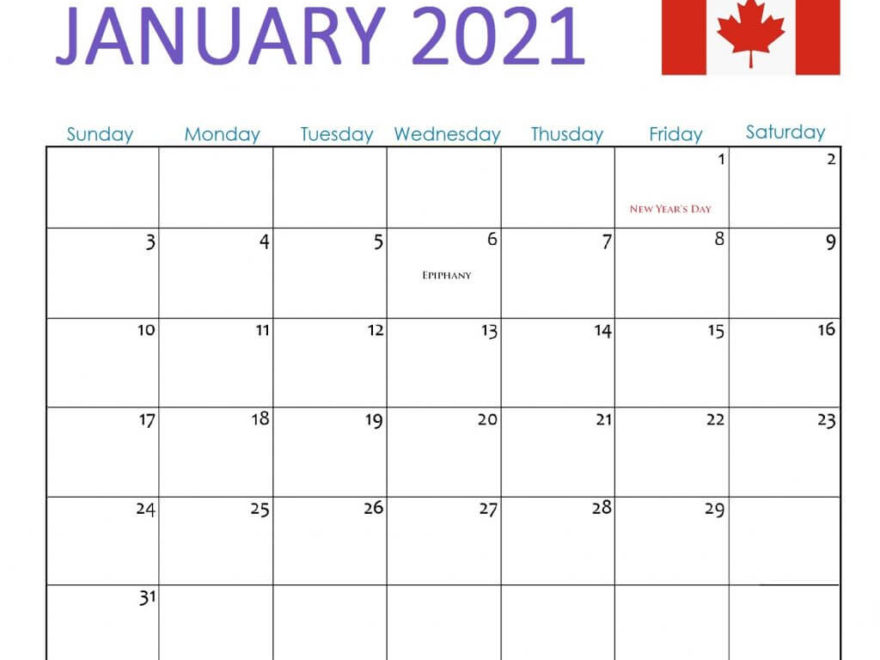 Canada January 2021 Holidays Calendar