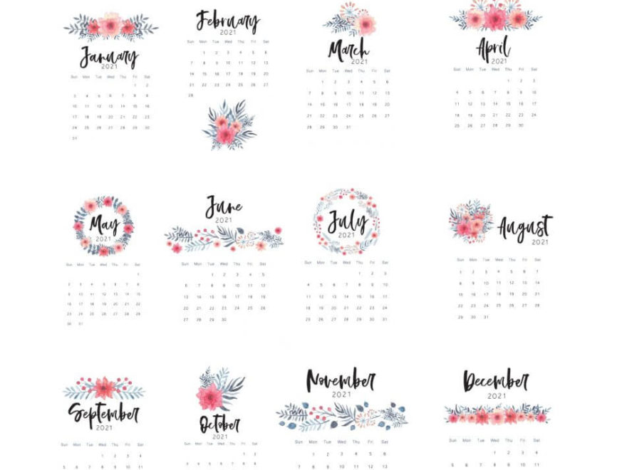 Floral Wall 2021 Yearly Calendar