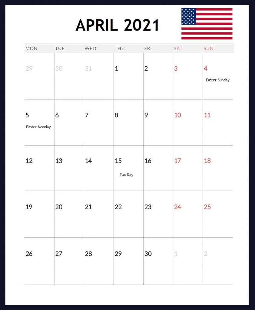 USA April 2021 Holidays Calendar
