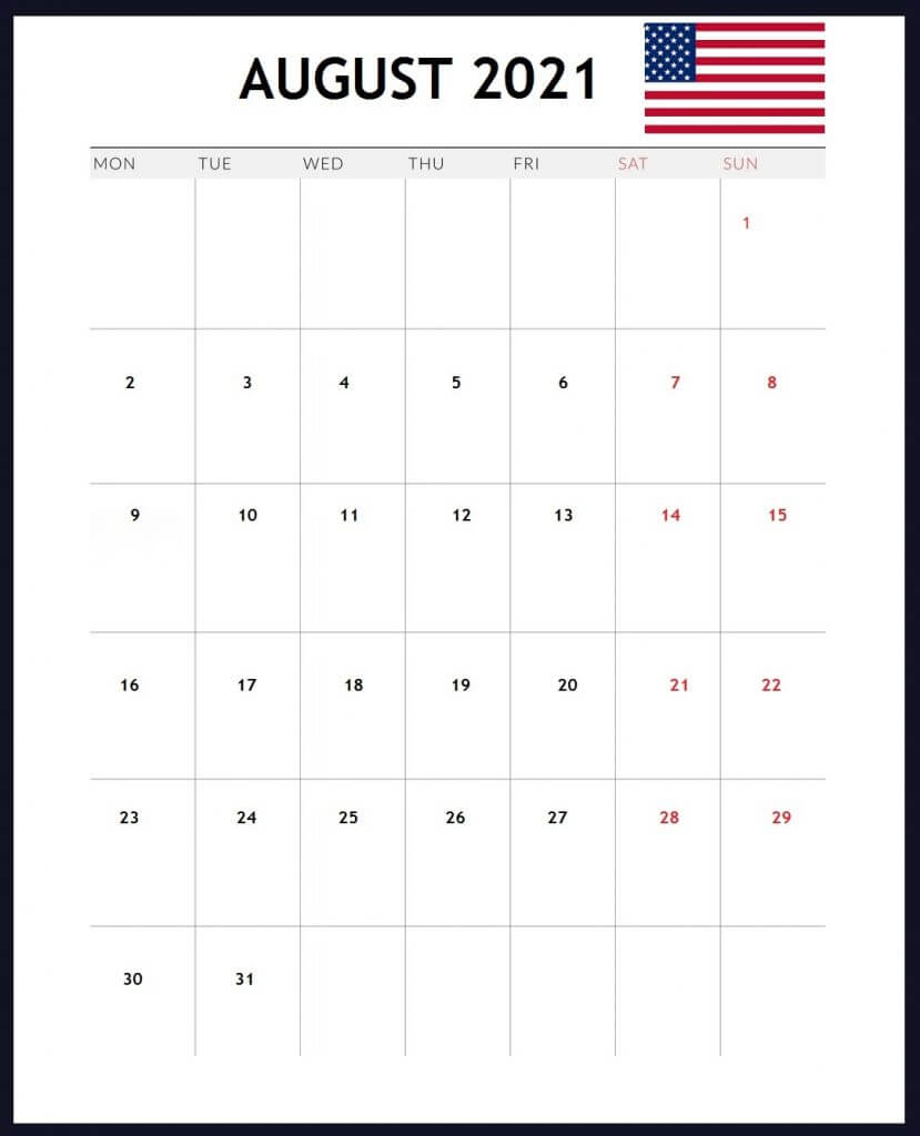 USA August 2021 Holidays Calendar