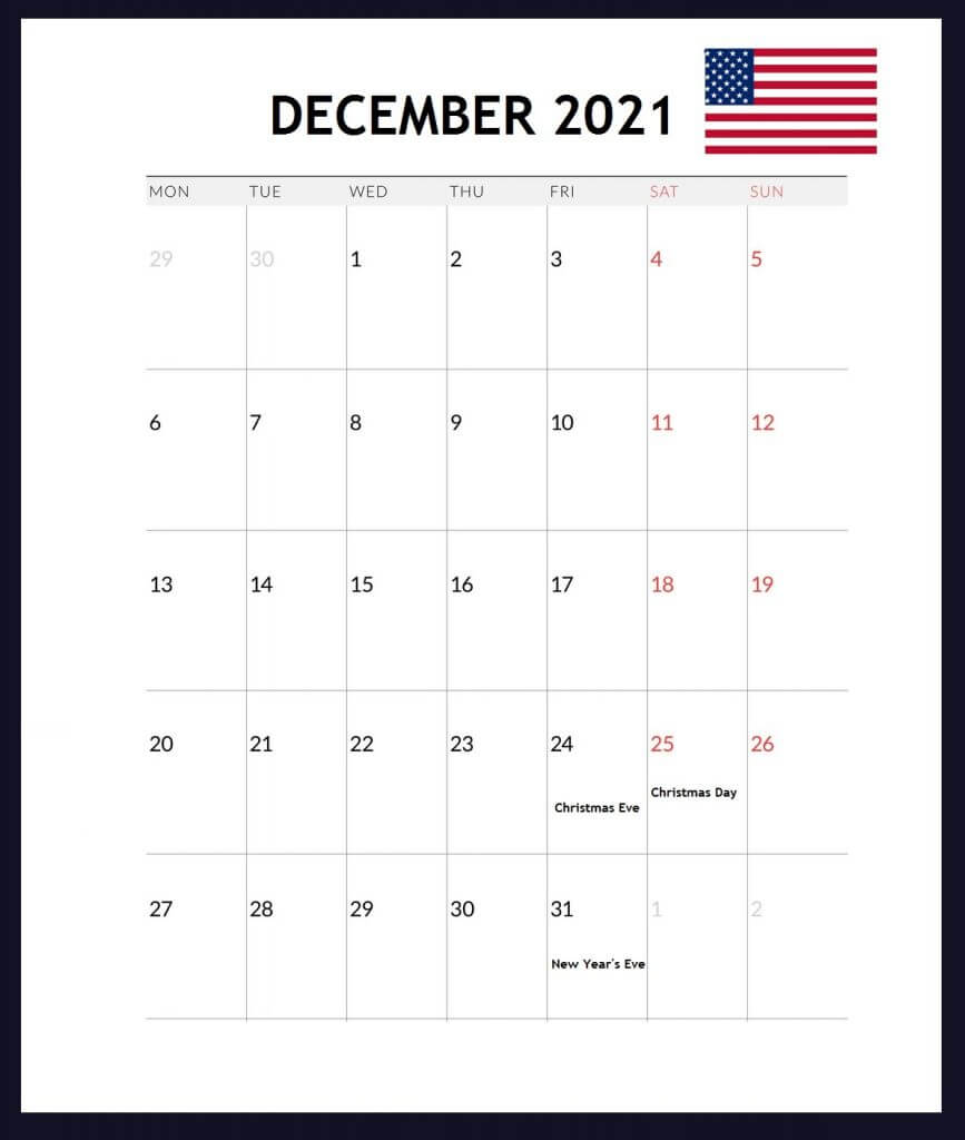 USA December 2021 Holidays Calendar