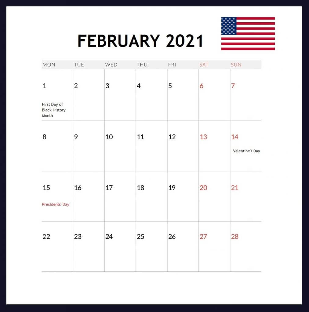 USA February 2021 Holidays Calendar