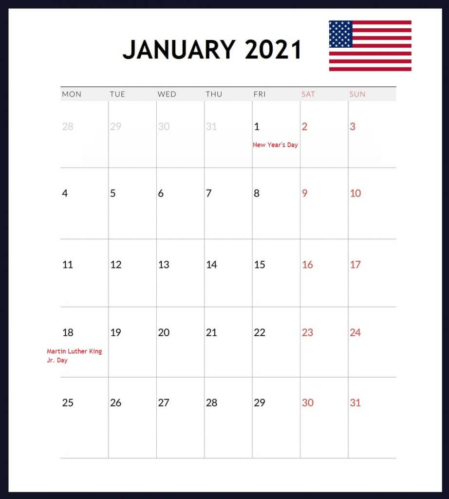 USA January 2021 Holidays Calendar
