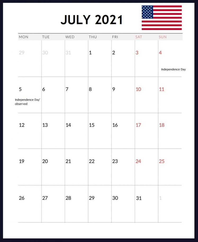 USA July 2021 Holidays Calendar