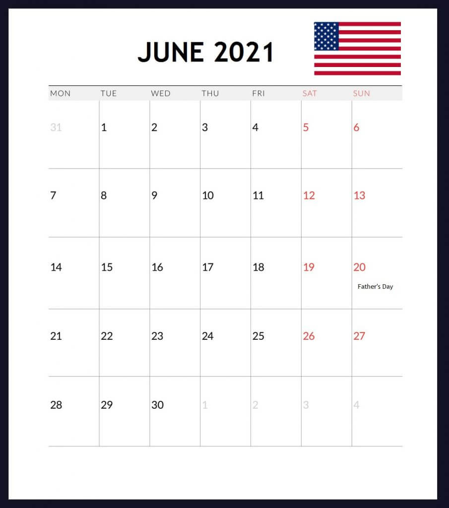 USA June 2021 Holidays Calendar