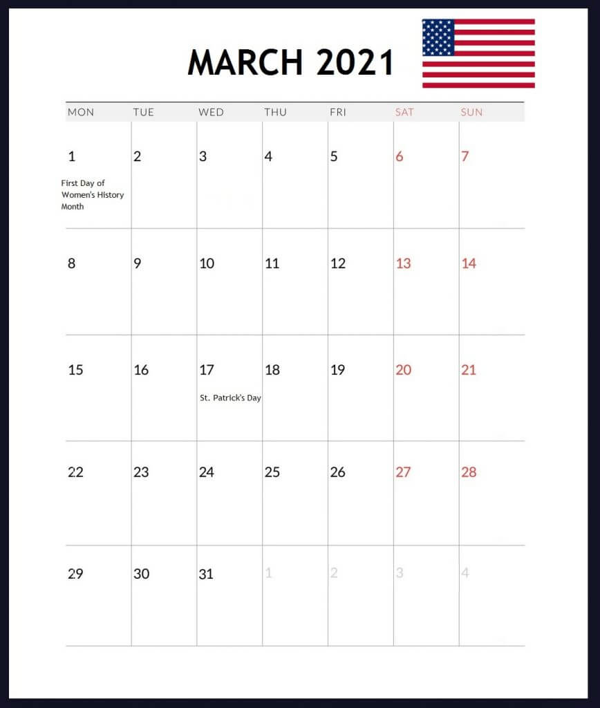USA March 2021 Holidays Calendar