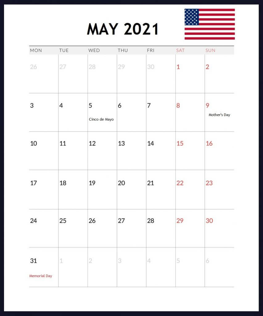 USA May 2021 Holidays Calendar