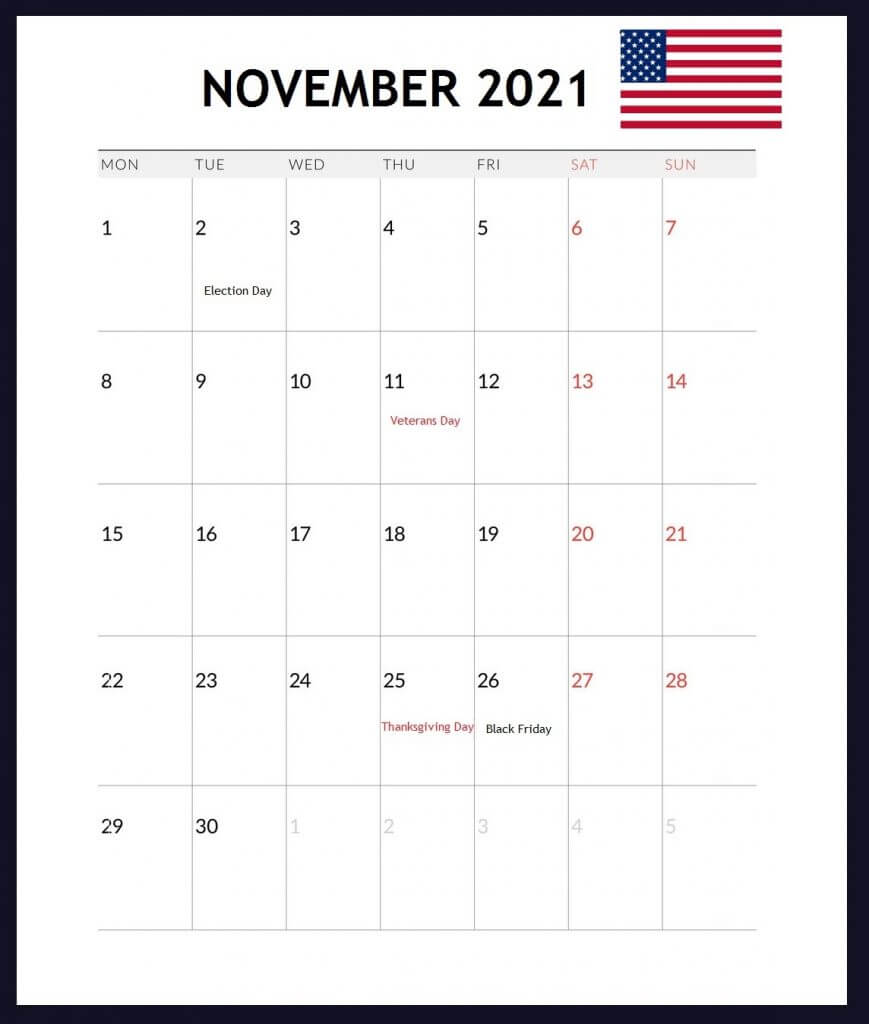 USA November 2021 Holidays Calendar
