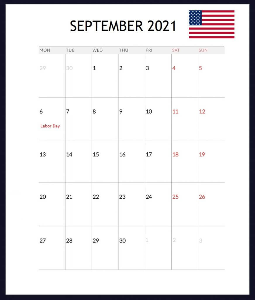 USA September 2021 Holidays Calendar
