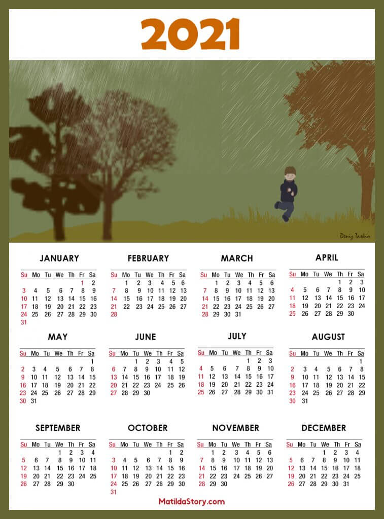 Yearly 2021 Calendar Template