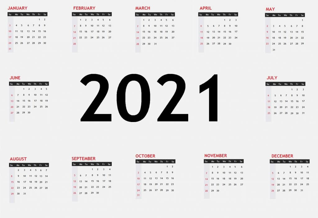 Yearly 2021 One Page Calendar