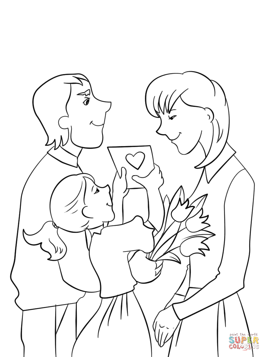 Happy Mothers Day Black and White Clipart